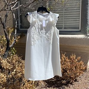 Sugar Lips White Embroidered Shift Dress